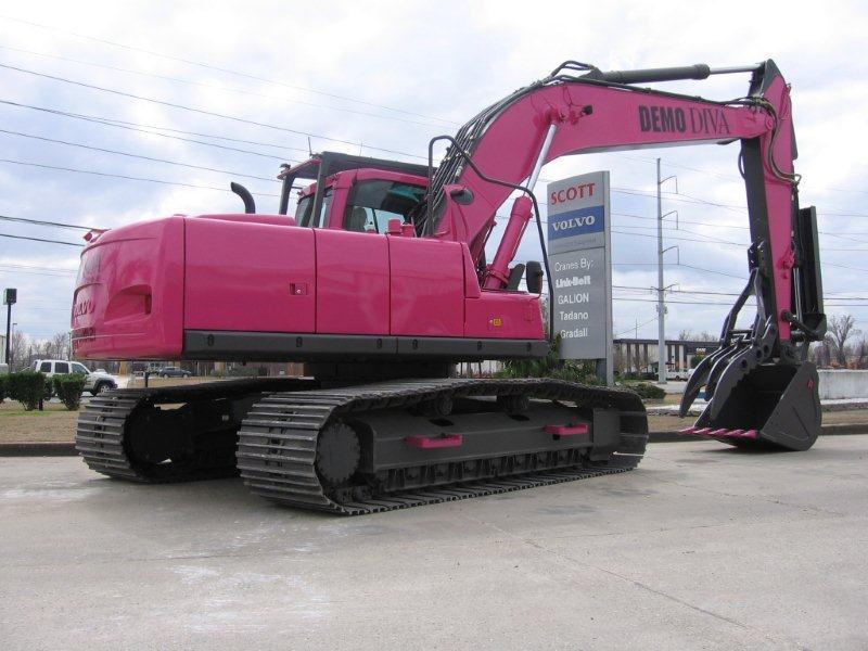 volvo excavators are in the pink for demo diva demolition. Black Bedroom Furniture Sets. Home Design Ideas