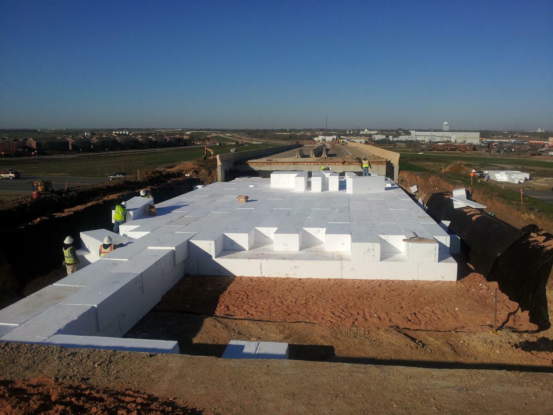 Giant foam blocks stem texan road and bridge settlement for Foam block construction