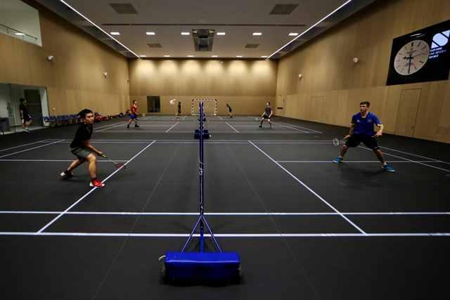 oxford sports hall has smart floor markings