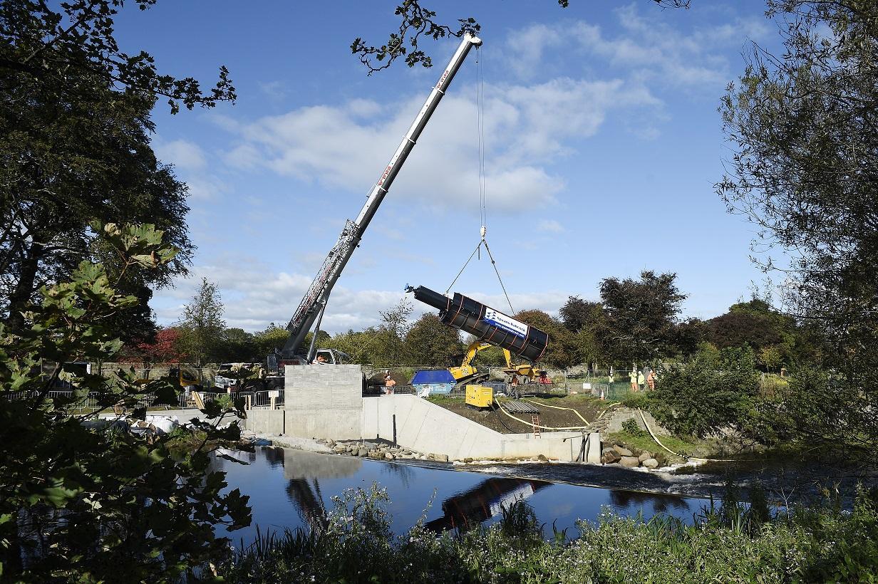 Archimedes screw installed for Edinburgh micro-hydro scheme