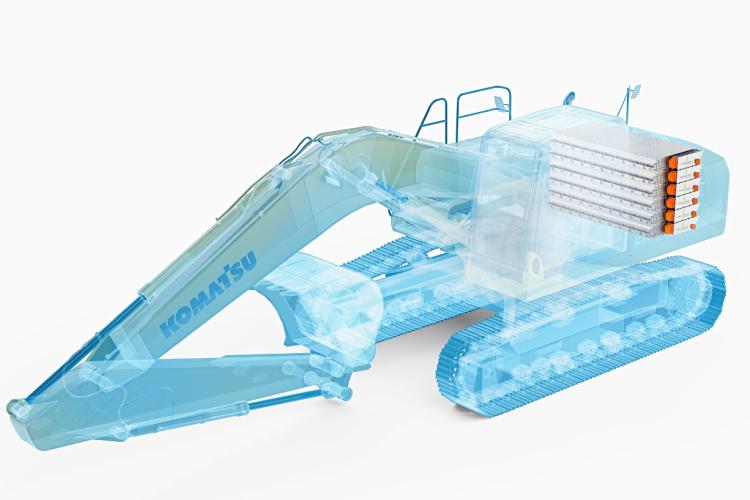Conceptual image of a Komatsu electric excavator