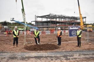 Breaking ground are (L-R) Seddon project manager Jon Hulley, pro vice-chancellor Jonathan Wastling, Noviniti  chairman Sir Keith Pearson and Harper Keele Veterinary School head Matt Jones
