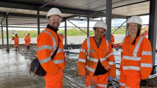 Graphene@Manchester team on-site in Amesbury (l-r): Craig Dawson, Happiness Ijije, Lisa Scullion