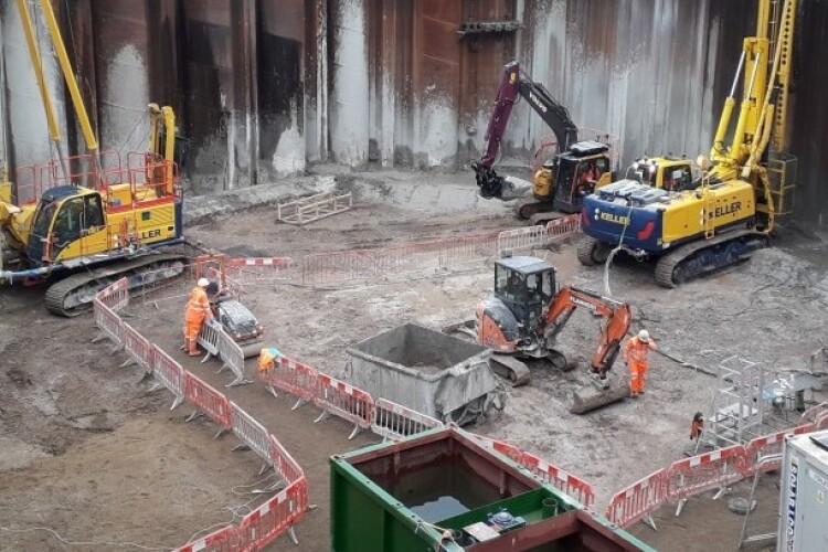 Keller working in London on the Thames Tideway project