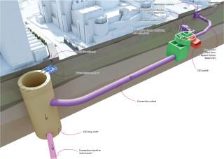 Diagram showing the underground works at Albert Embankment