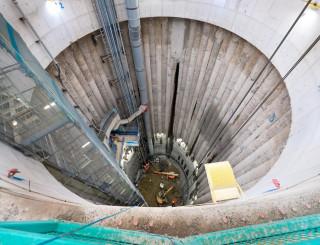 The 52m-deep drop shaft under construction