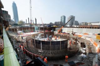 Preparing drop shaft ring beam concreting